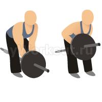 Тяга штанги за один конец обеими руками в наклоне
