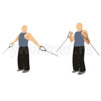 Сгибание обеих рук на бицепс на нижнем блоке стоя