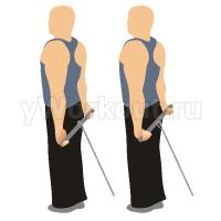 Сгибание запястий на блоке стоя (руки за спиной)